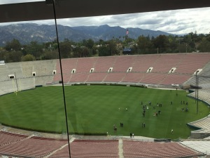 The view of the Rose Bowl Field from the Press Room. Photo by Karen Salkin.