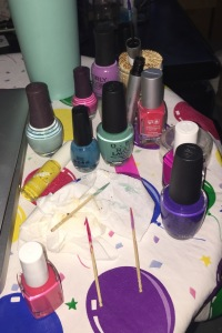 The mess I made while creating my Easter nails! Photo by Karen Salkin.