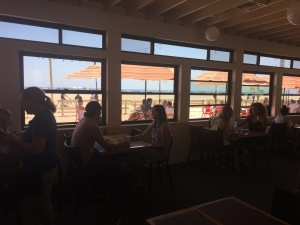 A view of the interior, looking out onto the beach. Photo by Karen Salkin.