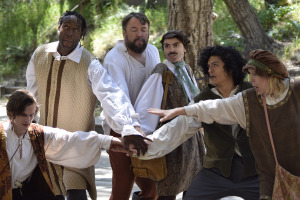 The roving troupe of actors in the play.  Christopher W. Jones is third from the left.  Photo by Ian Flanders.