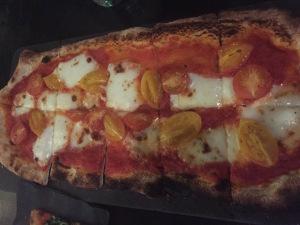 A basic cheese and tomato flatbread.  Photo by Karen Salkin.
