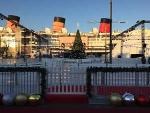 The view of the Queen Mary in the background of Chill, during the day. Photo by Karen Salkin.