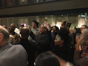 The closing night celebration, with Lula Washington right in the middle, and her husband and business partner, Erwin Washington, to her left.  (Then, to his left are dancers Christopher Frazier, in the hat, and Jasmine Francisco.) Photo by Karen Salkin.