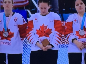 Shameful Canadian hockey player Jocelyne Larocque, without her silver medal. Photo by Karen Salkin.