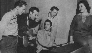 The original four, with Elvis' gal pal on the piano.