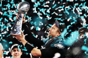 Victorious Eagles Super Bowl quarterback Nick Foles.