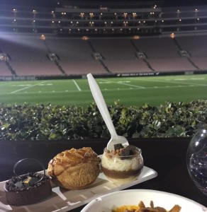 What could be better than a beautiful view of the Rose Bowl field while enjoying desserts from Porto's? Photo by Lisa Politz.