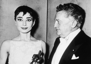 Audrey Hepburn receiving her Oscar from Jean Hersholt in 1954. Audrey would go on to receive the Humanitarian Award, which is named after Jean Hersholt, in 1993.