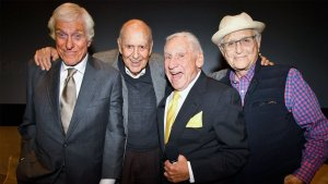"""Dick Van Dyke, Carl Reiner, Mel Brooks, and Norman Lear from the documentary, """"If You're Not in the Obit, Eat Breakfast."""""""