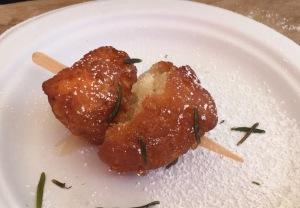 A chicken beignet.  Photo by Karen Salkin.