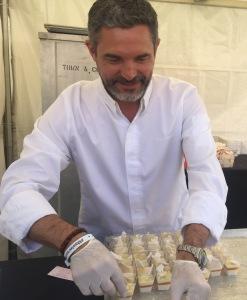 Chef Tony arranging his panna cottas.  Photo by Karen Salkin.