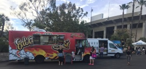Some of the food trucks at the entrance to MOT, on the top level, including the one I laud below.  Photo by Karen Salkin.