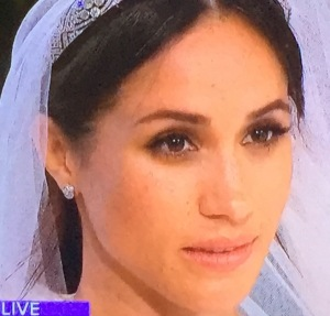 Meghan Markle's messy hair and make-up.  She actually looked even worse than this--my camera softened the lighting a lot! Who looks this bad on her own wedding day???  Photo by Karen Salkin.