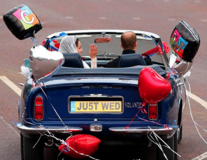 The previous fabulous Royal Wedding. (We Americans erroneously thought that Kate was doing the driving.)