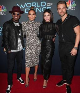 (L-R) Ne-Yo, Jennifer Lopez, Jenna Dewan, and Derke Hough.