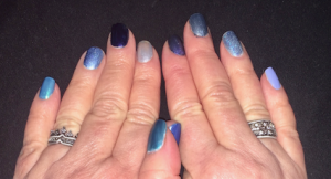 "Karen Salkin's nail polish tribute to ""Blues In the Night."" Photo by Mr. X."
