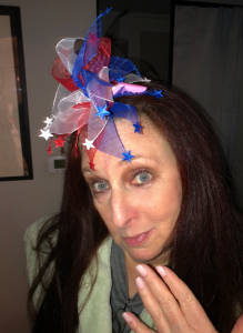 Karen Salkin featuring her pale pink Royal Wedding nails and crazy makeshift fascinator. Photo by Mr. X.