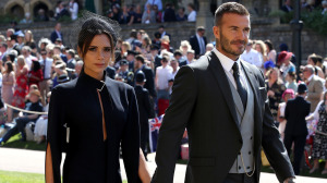 The Beckhams arriving at the wedding.