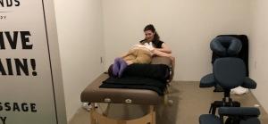 Karen Williams giving a guest a massage.  Photo by Karen Salkin.