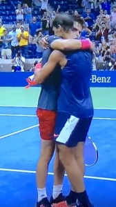 Dominic Thiem and Rafael Nadal embracing after their dramatic match!  Photo by Karen Salkin.