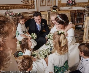 The kids loving the newlyweds.  (Princess Charlotte is the giggly girl in the middle.)