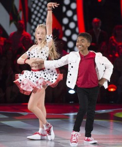 Miles Brown and his cute partner, who is the little sis of Mr. X's favorite grown-up pro, Lindsay Arnold.