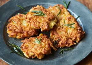 Gorgeous potato latkes.