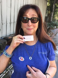 Karen Salkin, on her way home from voting in 2016.  Her tears of pride turned to tears of pain when the results came in.  Photo by Mr. X.