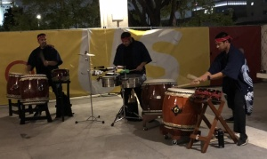 The taiko drummers on the plaza.  Photo by Karen Salkin.