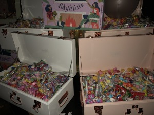 The treasure chests of candy.  Photo by Karen Salkin.
