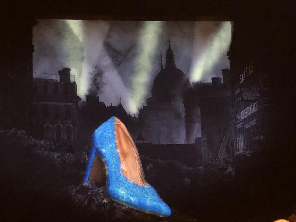 The pre-show curtain, setting the scene for Matthew Bourne's Cinderella at the Ahmanson. Photo by Karen Salkin.