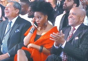 Diana Ross' daughter on her phone in the front row! Photo by Karen Salkin.
