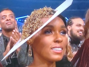 "Janelle Monae's safety pin ""hair!"" Photo by Karen Salkin."