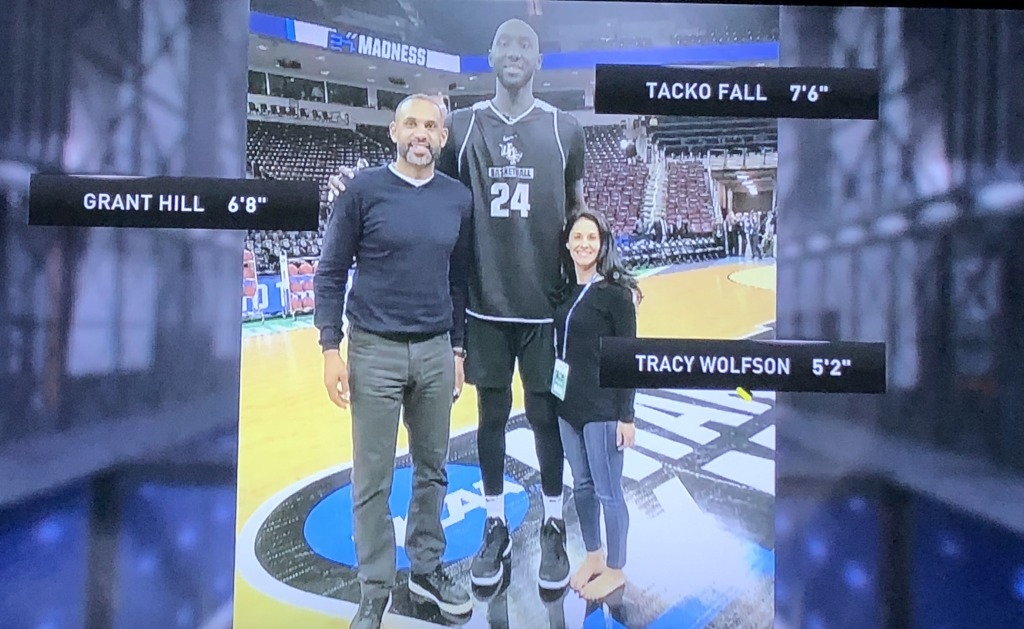 This pic says it all about Tacko Fall's height!  Photo by Karen Salkin.