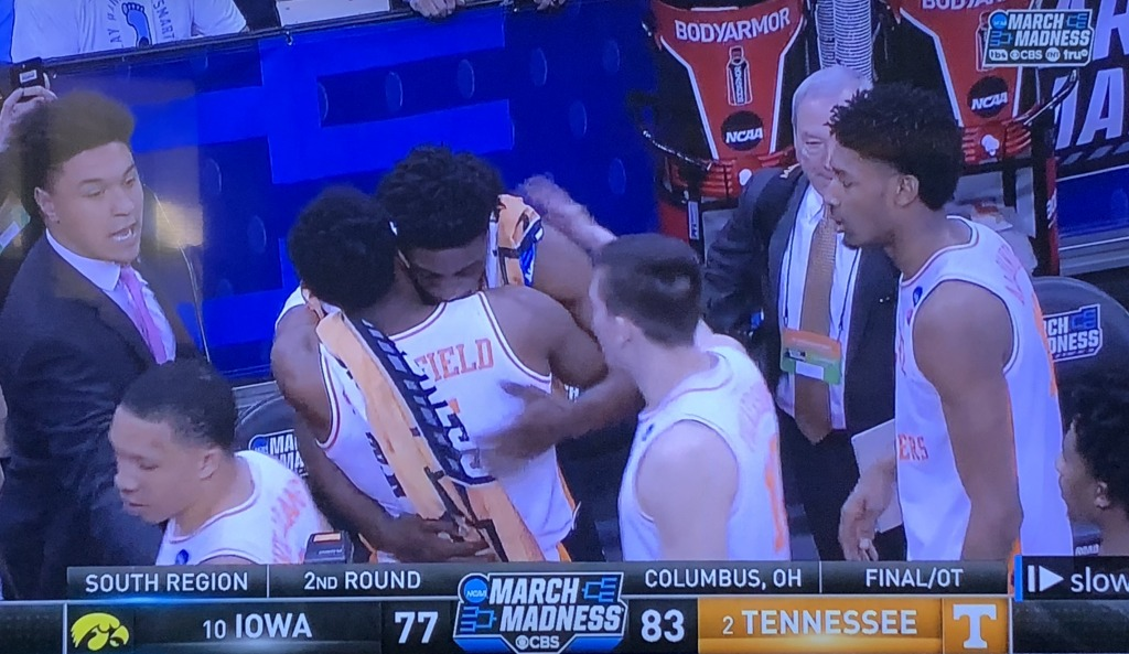 Admiral Schofield and teammates consoling Tyler Cook, whose team they had just beaten.  Photo by Karen Salkin.