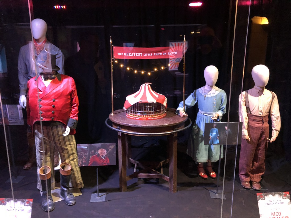 Some of the props and costumes in the display in the lower lobby. Photo by Karen Salkin.