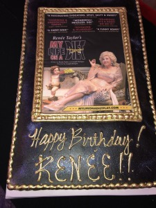 The cake (for Renee Taylor's recent birthday) at the opening night reception. Photo by Karen Salkin.