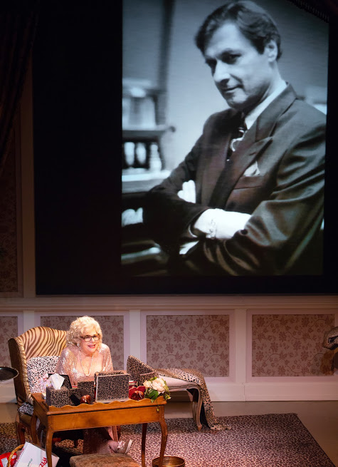Renee Taylor, with a giant projection of her late husband, Joe Bologna. Photo by Jeremy Daniel.