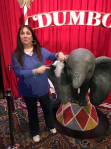A blurry Karen Salkin (because she's always in motion!,) with her doppelganger, Dumbo. Photo by Mr. X.