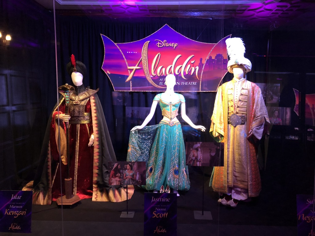 Some of the Aladdin costumes on display at the El Capitan.  Photo by Karen Salkin.