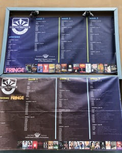 A board outside one of the theatres, listing their shows.  Photo by Karen Salkin.