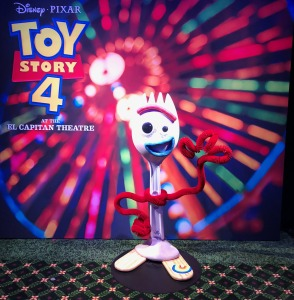 The Forky photo op in the lower lobby.  Photo by Karen Salkin.
