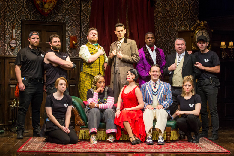 The entire company of the National Tour of The Play That Goes Wrong. Photo by Jeremy Daniel.