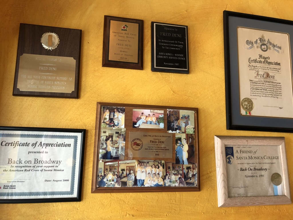 Just a few of Fred Deni's awards over the years.  Photo by Karen Salkin.