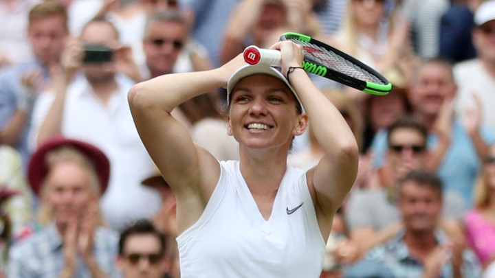 Simona Halep when she recently won her first Wimbledon Chamionship, defeating Serena Williams.