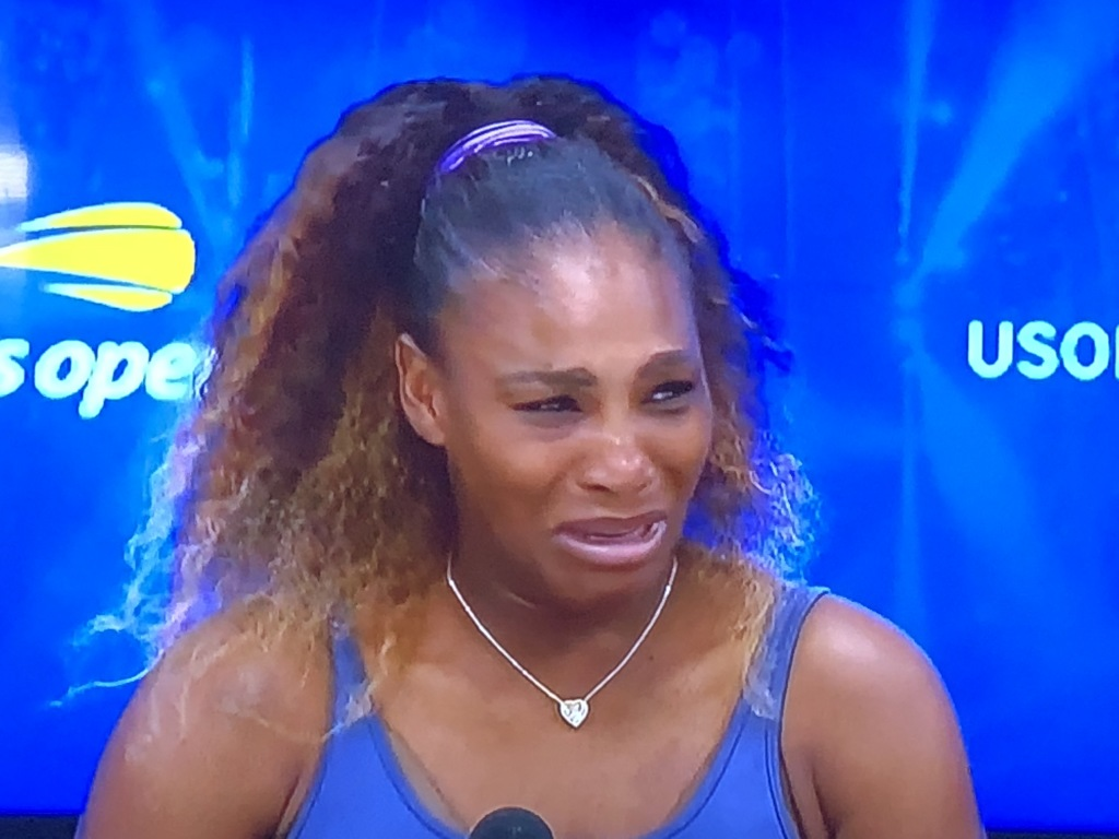 "Serena Williams showing her even-more-sour-than-usual mug when saying that her loss to Angelique Kerber ""doesn't count!""  (In her mind it may not, but to the rest of the world, it definitely does!!!)  Photo by Karen Salkin."