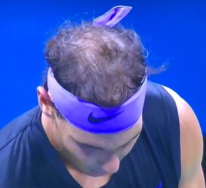 Speaking of hair-fixing, the top of Rafa Nadal's head.  Photo by Karen Salkin.