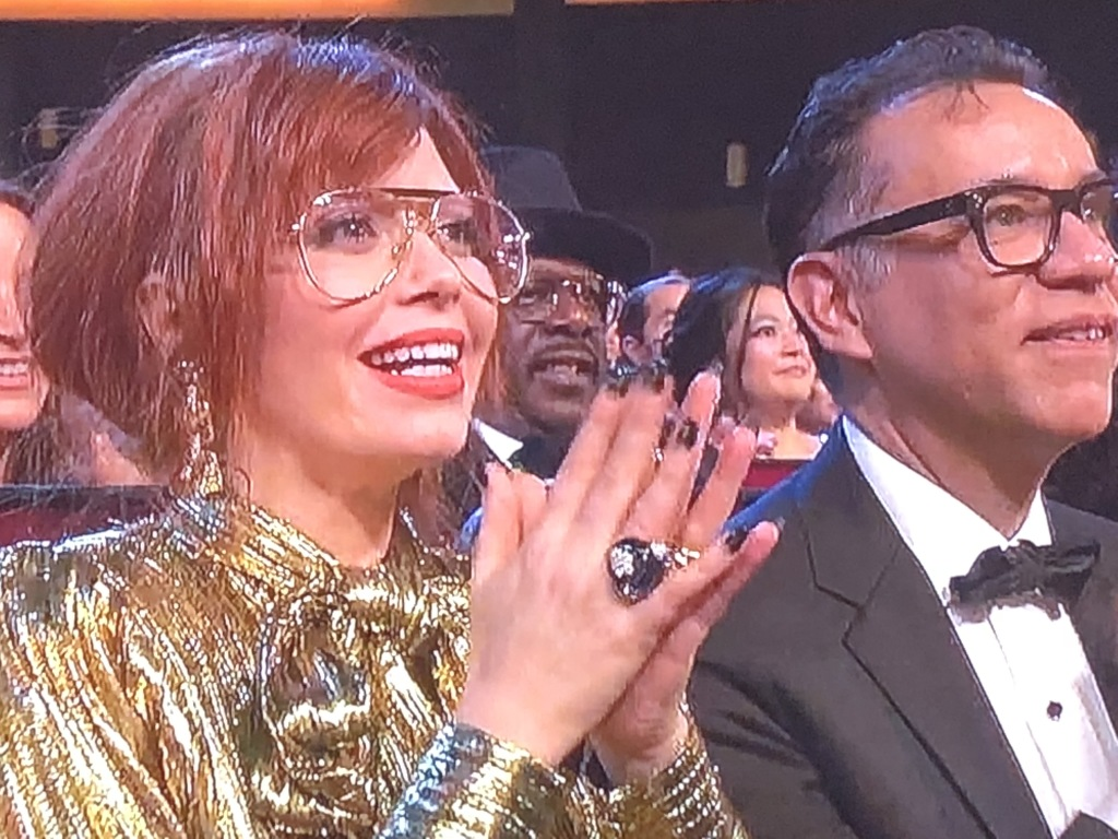 The very weird clapping, and looks, of Natasha Lyonne, with her bae Fred Armisen next to her.   Photo by Karen Salkin.