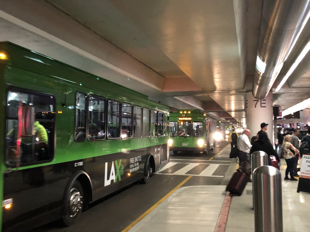 What I was greeted by at LAX--no more convenient curbside pick-up!  Shuttles only.  Grrr.  Photo by Karen Salkin.