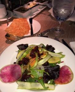 The pretty salad and accoutrements.  Photo by Karen Salkin.